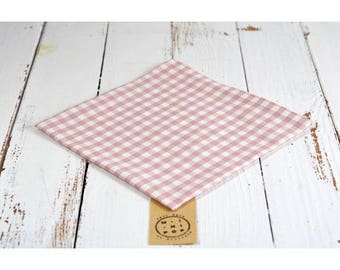 Napkin in organic cotton GOTS pink gingham, zero waste, eco-friendly and sustainable