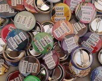 Gender pronoun buttons - resistance buttons fundraising for Trans Lifeline