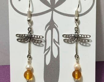 Dragonfly with Amber earrings. Dragonfly and Amber. Sterling Silver Dragonfly and Amber Earrings.