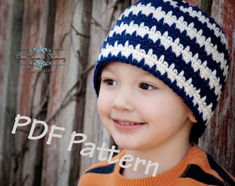 Easy crochet beanie pattern, easy crochet hat pattern, striped crochet hat pattern, crochet pattern, instand download, permission to sell