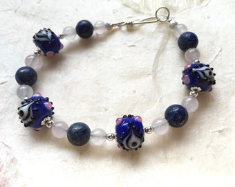 Blue Eye Beads, Rose Quartz and Lapis Bracelet