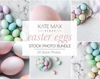 Pastel Easter Eggs Stock Photo Bundle / Styled Stock Photos / 24 KateMaxStock Branding Images for Your Business