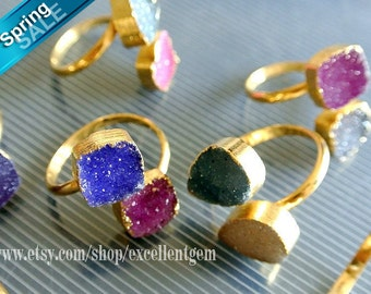12% off Druzy ring Drusy ring Gold plated edge Double Druzy agate Ring Druzy jewelry Gemstone ring.-JSR-4979