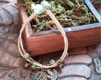 Multilayer Rope Bangle Ceramic Bead and Charm Bracelet, Fully Adjustable Rope Charm and Ceramic Bead Bracelet