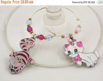 Cheshire and Marie inspired wine glass charms set of 2 Disney charms handmade wine charms party Disney wine charms