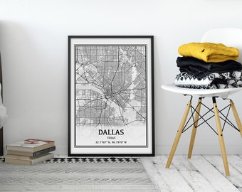 Dallas Map, Texas Map, Dallas TX, Dallas Texas Map of Dallas, Dallas City Map, Dallas Street Map Dallas, Digital Download