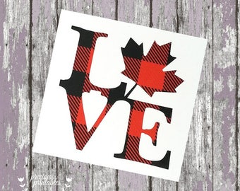 Canada Love Decal in Buffalo Plaid