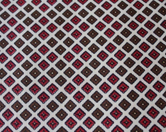 50s Cotton Fabric - 5 Yards x 35.5 Inches Wide - Magenta Pink Brown & White Tiny Squares Geometric Print Yardage - 1950s Five Yards - 47561