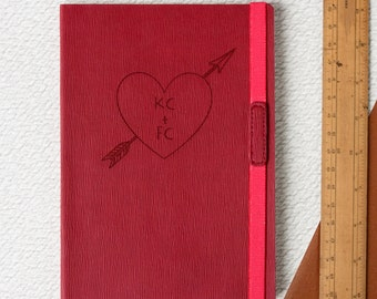 Personalised Love Heart Engraved Journal. Red Notebook personalised gift for Valentines him her Wedding Engagement couples