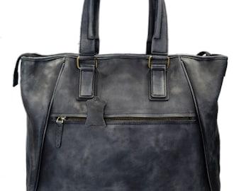 Leather ladies handbag blue shopper shopping bag shoulder bag luxury bag women handbag washed leather women leather vintage leather purse