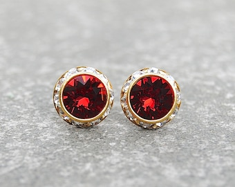 Red Diamond Earrings Swarovski Crystal Ruby Red Stud Earrings Sugar Sparklers Mashugana