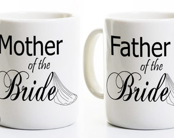 Father and Mother of the Bride Coffee Mugs - Parents Wedding Bride Gift - Tea Cups - Mug Set