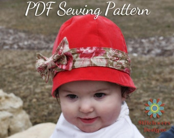 GIRLS CLOCHE HAT Sewing Pattern, Baby Toddler Girl Vintage Retro Hat Pattern, Digital Pdf Childs Hat Sewing Pattern, 7 sizes