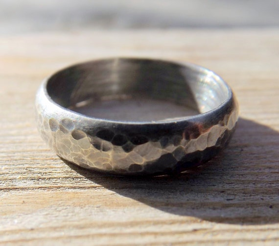 Sterling Silver Wedding Band, Rustic Mens Or Womens Hammered Textured Oxidized Silver Ring Band,  Darkened Silver Ring Band, Gunmetal Look