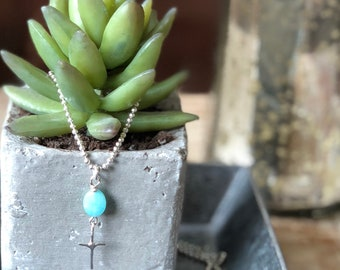 Organic Looking Small Sterling Silver Cross Pendant with Amazonite Oval Gemstone on Ball Chain Choose Your Length
