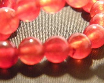 30 pearls jade natural gemstone - Red - 6 mm gemstone - Pearl jade - natural gemstones - G103-12