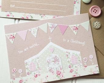 10 x Girl Christening invitations. Pretty, floral, cute. DIY