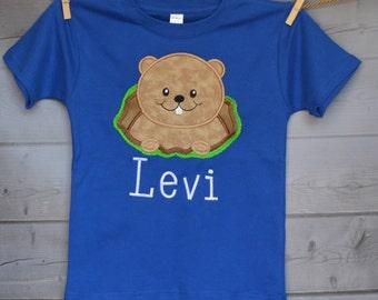 Personalized Ground Hog Applique Shirt or Onesie Girl or Boy