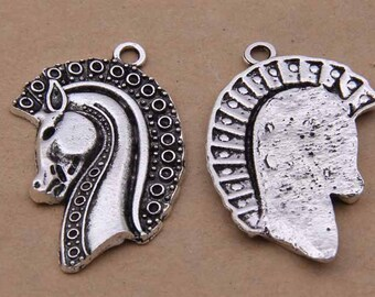 5pcs 23x42mm Antique Silver Horse Charm Pendants Y1760