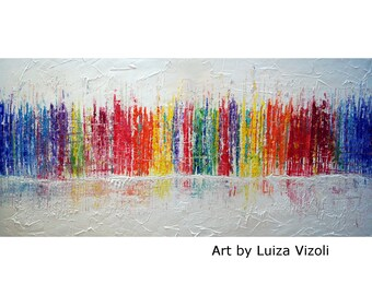 RAINBOW Pollock Inspired Abstract Painting 48x24 WHITE Large Abstract Original Artwork Ready to Ship Art by Luiza Vizoli