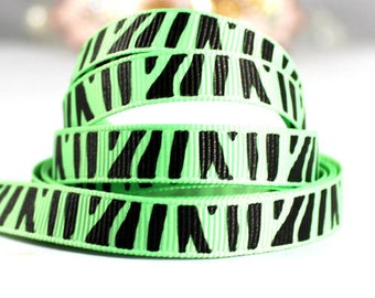 Green pattern Ribbon Zebra grosgrain Ribbon (x 1 meter) polyester