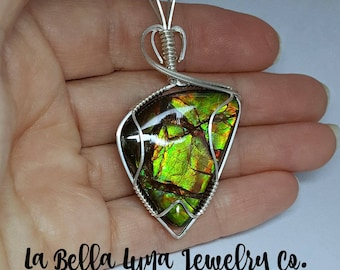 Ammolite wire wrapped pendant, Ammolite pendant, Sterling silver, Green Ammolite jewelry, Blue ammolite necklace, Red Ammolite cabochon
