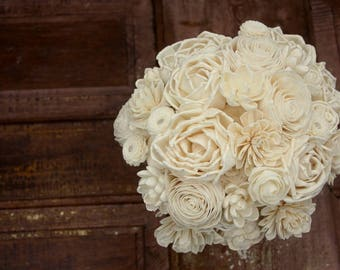 Sola flower bouquet, brides wedding bouquet, ivory wedding flowers, eco flower bouquet, ecoflower, sola wood flowers, wooden flower bouquet