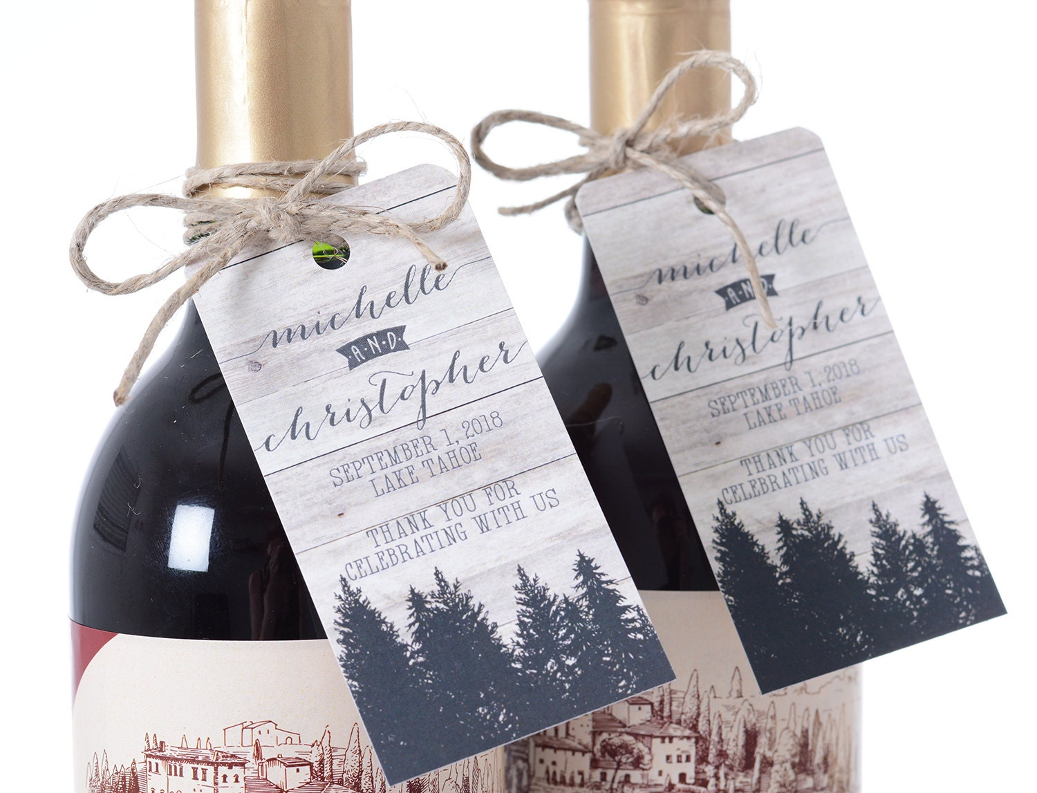 Rustic Woods Wedding Tags Wine Bottle Tags Favor Box Tags
