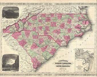 North Carolina and South Carolina; 1866 Johnson Map; 1st Quality Antique Replica
