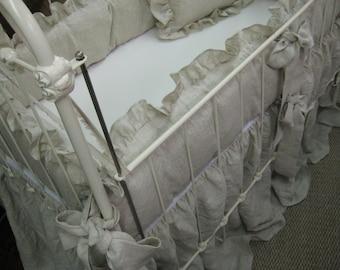 Oatmeal Handkerchief Washed Linen Bedding-Lightweight Linen Baby Bedding-Neutral Ruffled Crib Bedding-Lightweight Washed Linen-Made to Order