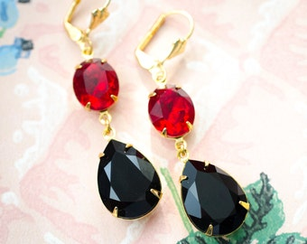 Siam Ruby and Jet Black Antique Style Jewelry, Vintage Style Jewelry, Swarovski Crystal, Retro Jewelry, Sparkly Earrings, Dangle Earrings