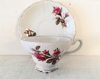 Vintage Made in Japan Fine Bone China Teacup and Matching Saucer/Farmhouse Kitchen Collectible Teacup and Saucer/Shabby Chic Teacup & Saucer
