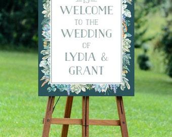 botanical wedding welcome sign, printable wedding welcome sign, large welcome wedding sign, succulent wedding, watercolor wedding, digital