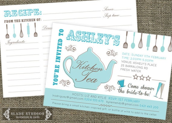 Kitchen tea teapot shower invitations and recipe like this item filmwisefo Gallery