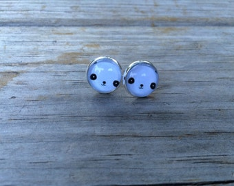 Panda Bear earrings, stud earrings, Animal stud earrings, cabochon earrings, 12mm earrings