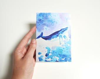 original blue print blank handmade card art oil painting print paper postcard gift sea fish print art postcard illustration whale sea decor