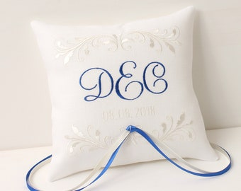 Ring pillow White and blue Ring bearer pillow wedding day pillow Embroidered ring pillow monogram pillow Romantic embroidered ring pillow