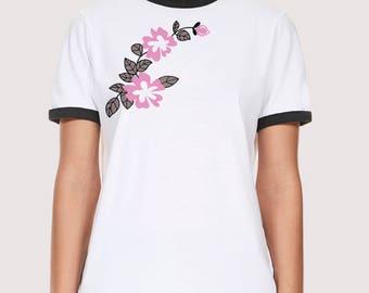 Flower Pattern Ringer T-shirt
