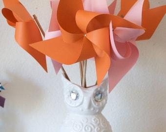 Orange and Pink Decor Baby Shower Favors Wedding Favors Decor Birthday Favors - 6 regular Paper Pinwheels