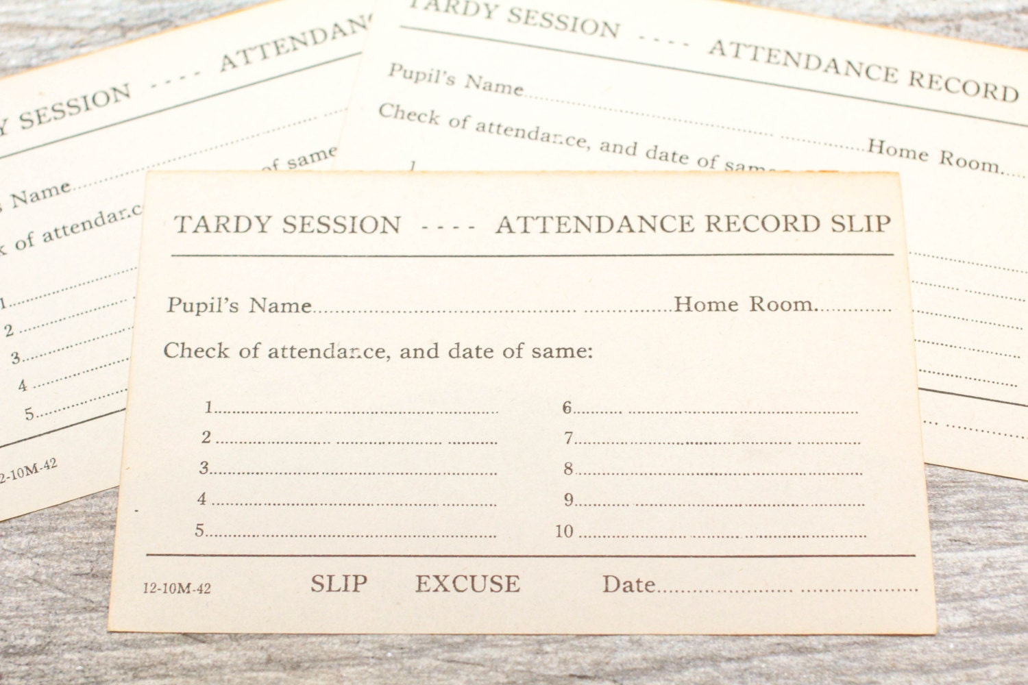 4x vintage school tardy slip late absent attendance record form 375 thecheapjerseys Images