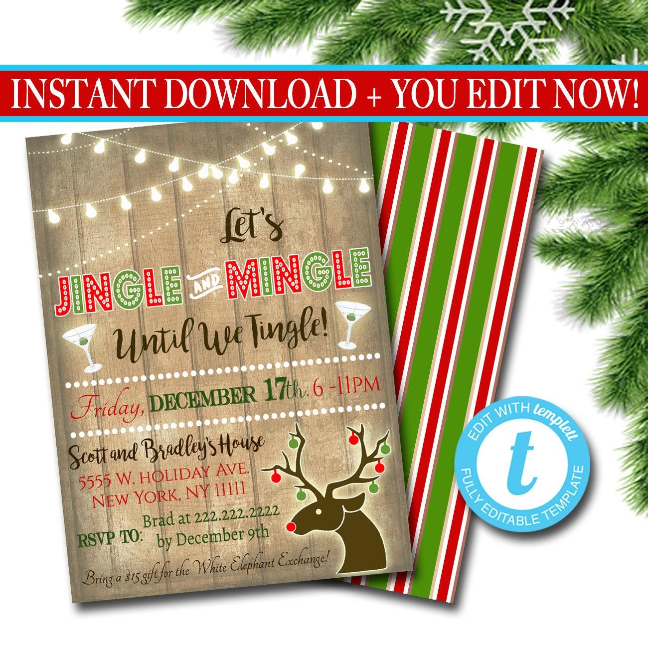 Printable Jingle & Mingle Christmas Party Invitation Adult
