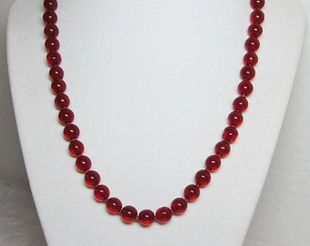 Classic Red Beaded Glass Necklace Round 8mm Beads