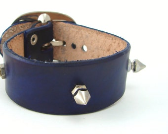 Punk Cuff - Blue Leather Cuff w/t Spikes