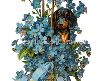 Dachshund Dog Applique Block, Basket Forget Me Knot Flowers Fabric Panel, Applique Quilt Block, Crazy Quilting Supply - Dog Fabric Block
