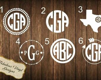 3inch Monogram Decals   Car Decals   Window Sticker