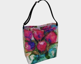 Six Tulips Tote Bag Shoulder Bag Womens Bag Women Bags Floral Purse Stretchy Bag Neoprene Purse Hippie Bag Gypsy Bag Summer Gift for Her