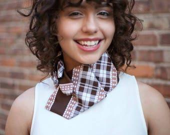 70s Plaid Scarf - Necktie Scarf - Vintage Plaid Scarf - Unique Gift For Her - Work Wear - Brown Plaid Lauren Scarf. 3