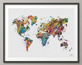 WORLD Map Watercolor Art Print Wedding Gift Travel Art Wanderlust  Wall Wedding Gift Poster Wall Decor Art Home Decor Wall Hanging [NO 57]