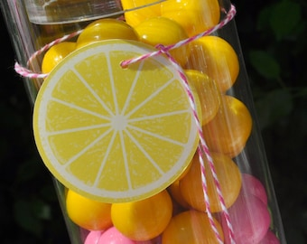 Lemonade and Sunshine Lemon Circles - Table Confetti, Drink Labels - Party Decorations - You Are My Sunshine Pink Lemonade Party - Set of 12