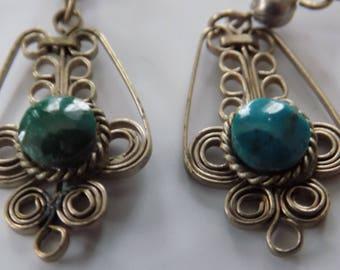 Vintage earrings, Edwardian style, filigree earrings,turquoise earrings,drop earrings,dangle earrings